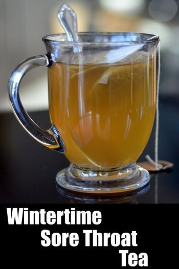 wintertime sore throat honey and lemon tea
