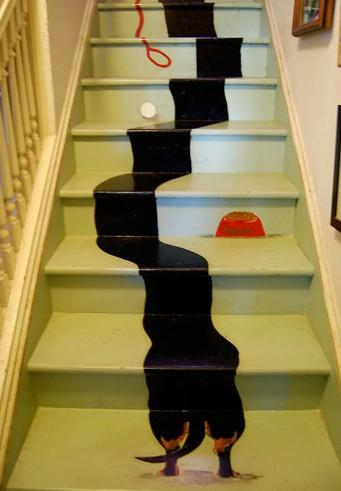 dachshund staircase painting