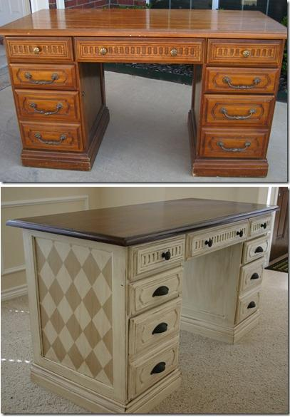 diy desk makeover refinished
