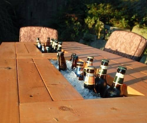 diy patio tabel with built in wine beer coolers