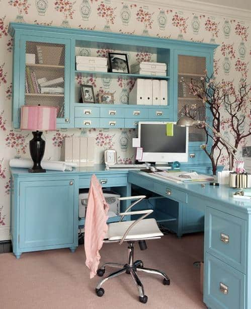 14 feminine home office design ideas diy cozy home for Home office designs ideas