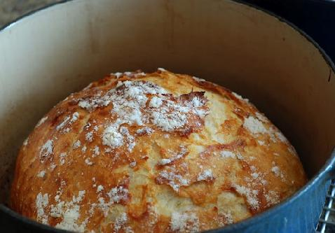 homemade bread in cast iron pot