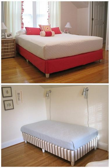 add fabric and furniture legs to box spring