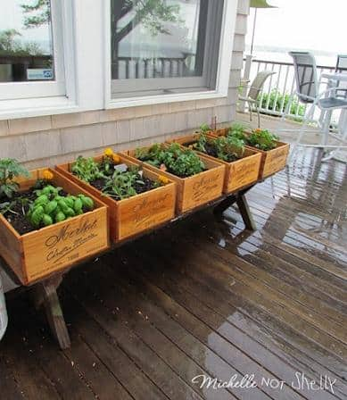 diy deck herb garden using wine boxes