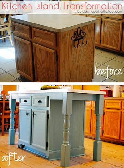 kitchen island makeover transformation