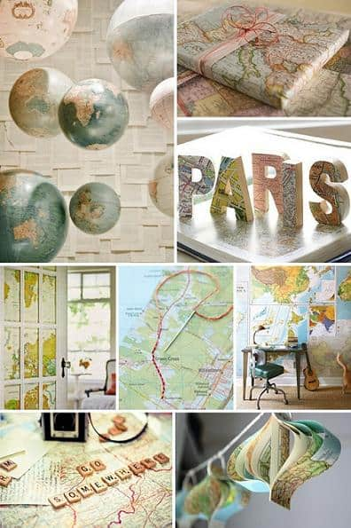 old map arts and crafts projects