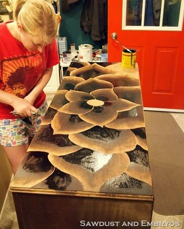 refinishing dresser stain art flowers
