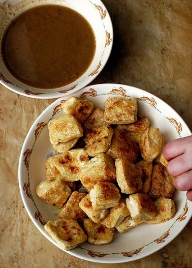 roasted tofu with dipping sauce