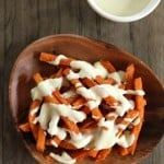sweet potato fries wit gouda cheese sauce