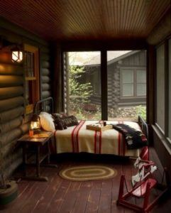 day bed in enclosed porch