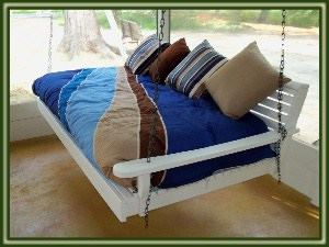blue porch bed