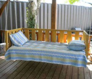 striped porch bed