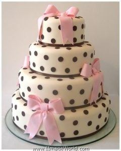 Little girls birthday cake. Love the black polkadots.