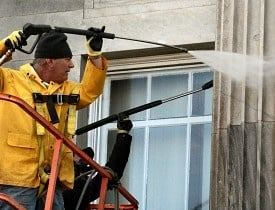 Power wash house exterior