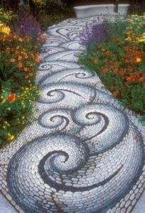Stone walkway in the garden