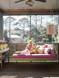 pink and green porch bed