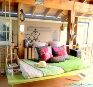 lime green swinging day bed with ledge