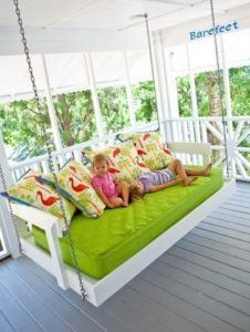 white and green swing bed