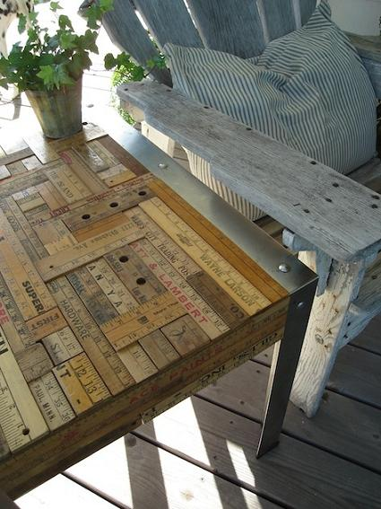 diy upcycled vintage yardstick table