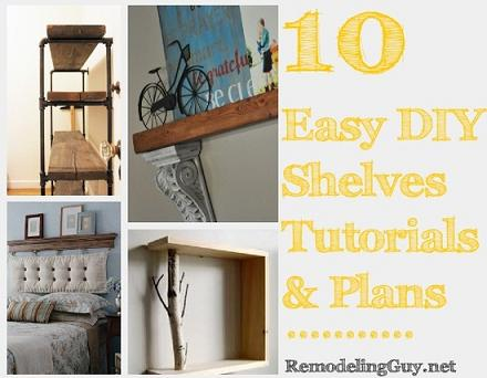 easy diy shelves tutorials plans