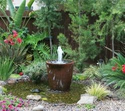 large brown planter fountain