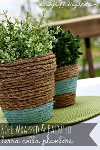 Rope Wrapped Terra Cotta Planters