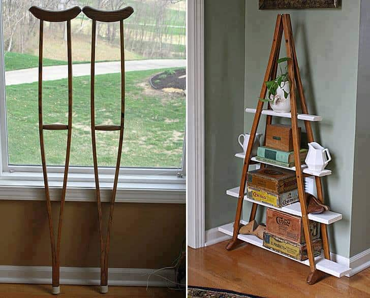 Wood Crutches Into A Book Shelf | DIY Cozy Home