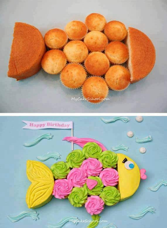 Fish cupcake cake diy cozy home for Fish shaped cake