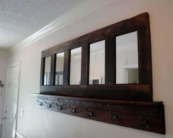 coat rack from an old door and shelves