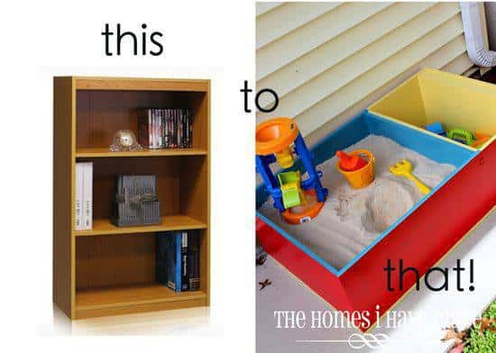 bookshelf into a sandbox