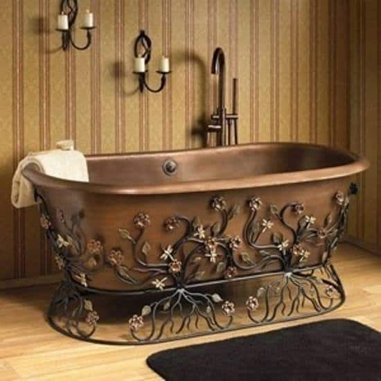 flora copper tub wrought iron stand