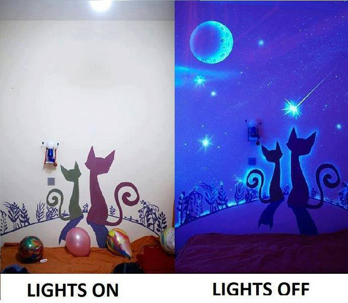 Glow in the dark paint wall murals diy cozy home for Diy mural painting
