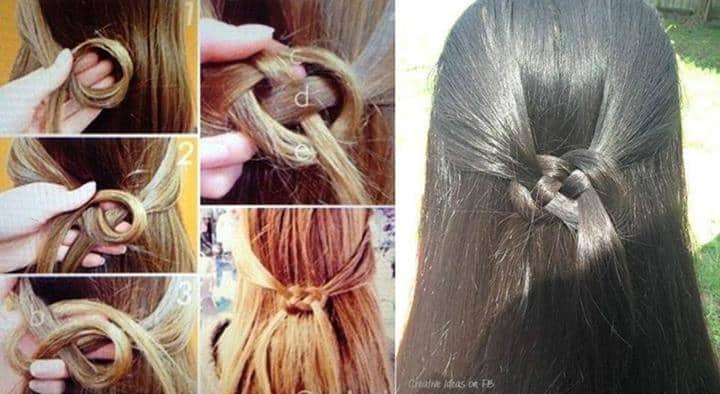 half up half down celtic knot hair style
