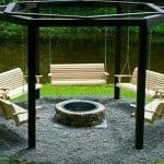 hanging bench fire pit seating idea