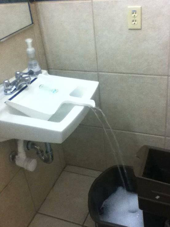 home hacks dust pan in sink to fill container