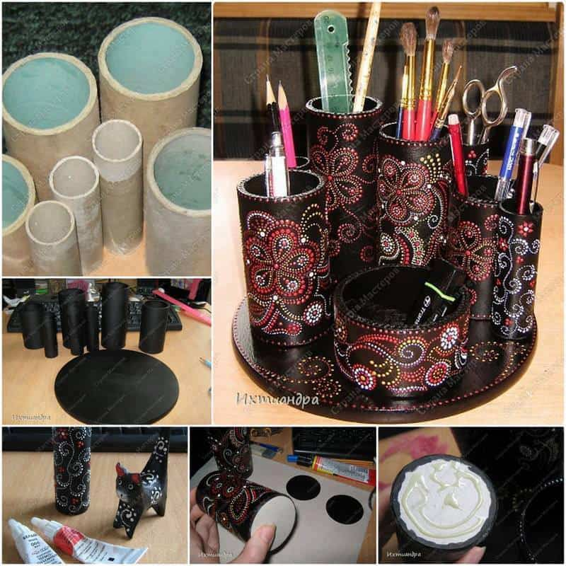 paper roll desktop organizer diy cozy home
