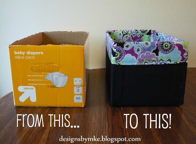 diaper box into storage tote