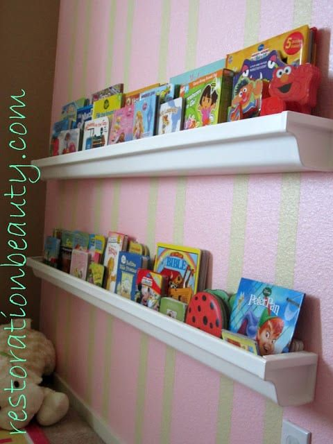 rain gutter book shelf