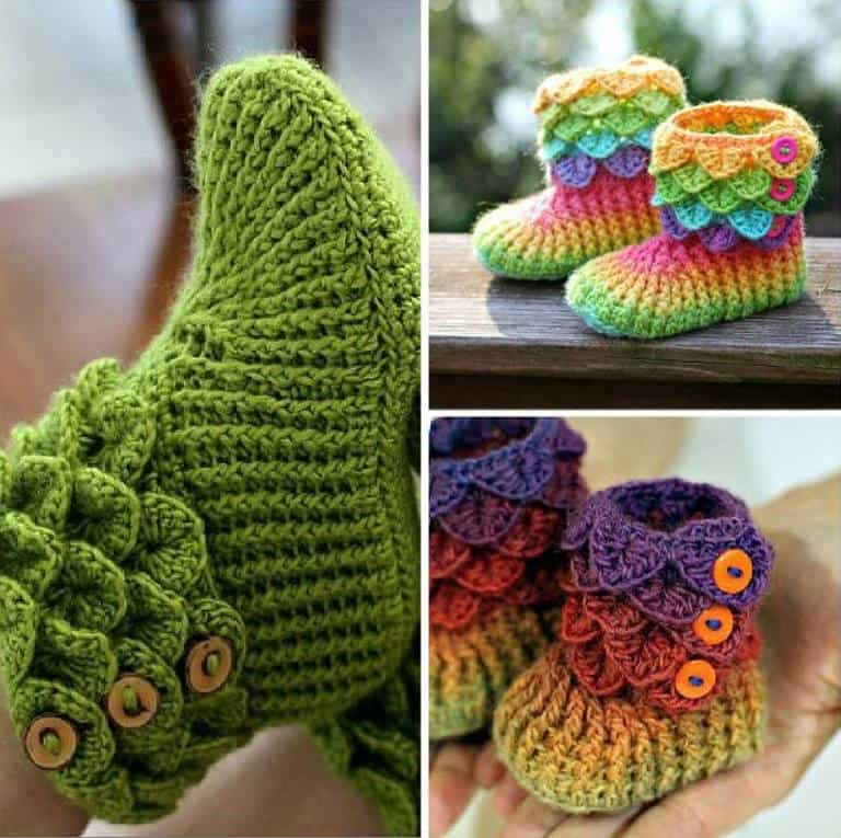 crocodile little girl crochet booties