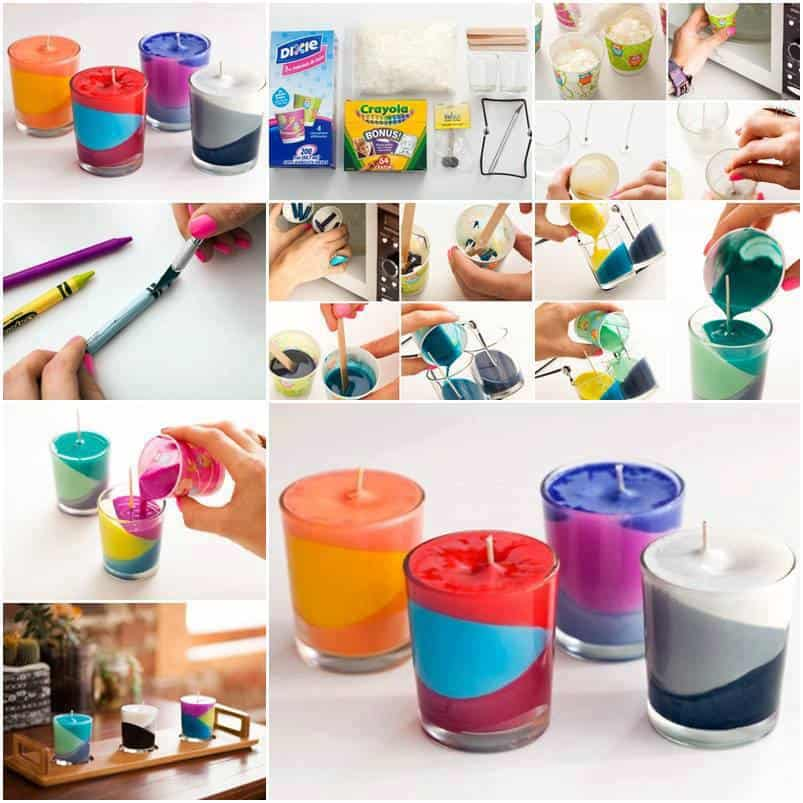 diy crayon color block candles