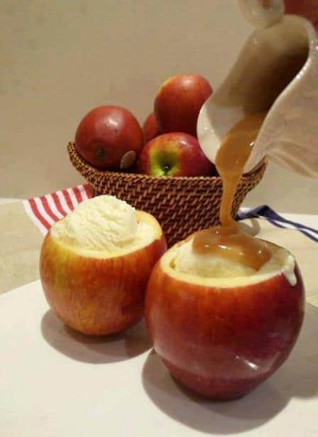 hollowed out apple sundaes