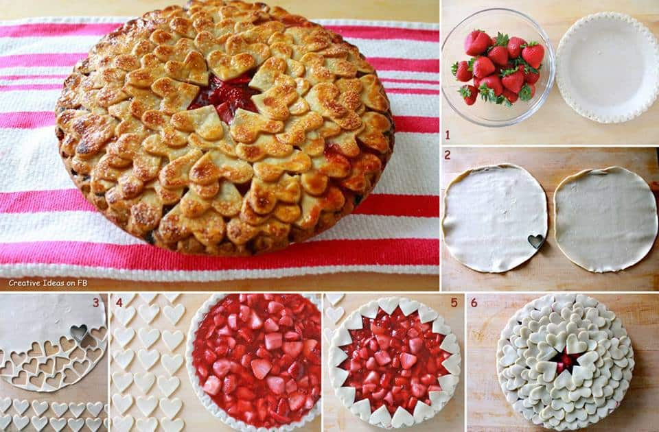 layered pie crust topping heart shaped