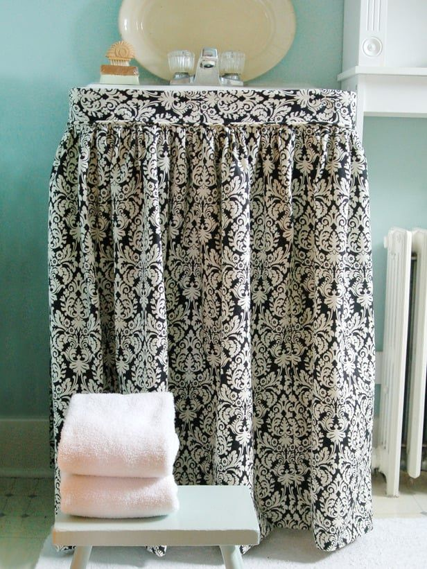 hide clutter with a sink skirt