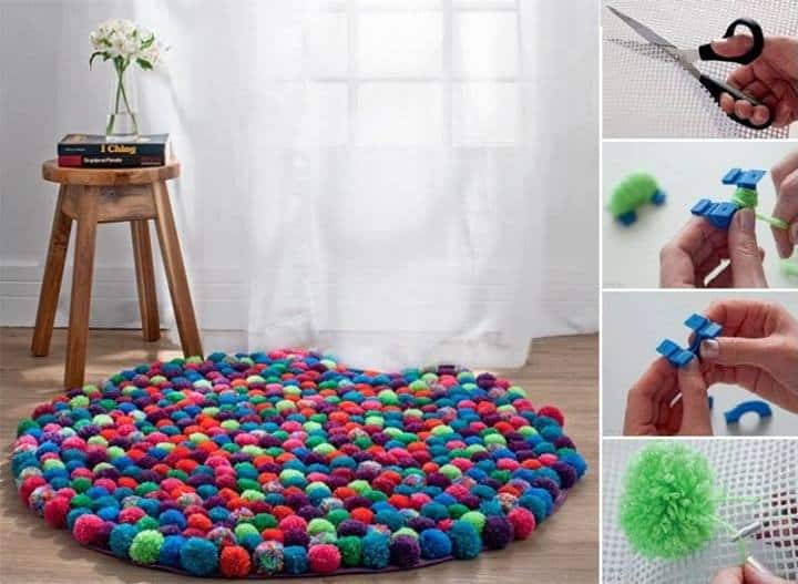 pom pom rug tutorial large