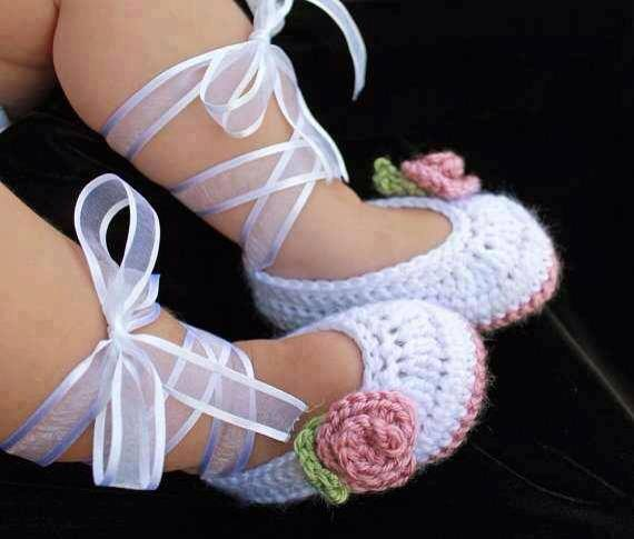 cute knitted ballerina baby slippers