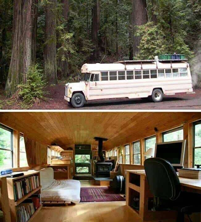 School Bus Into A Cozy Cabin On Wheels
