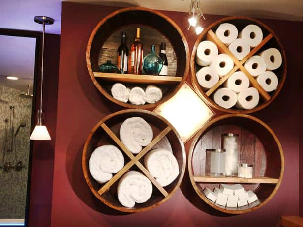 barrel into bathroom storage