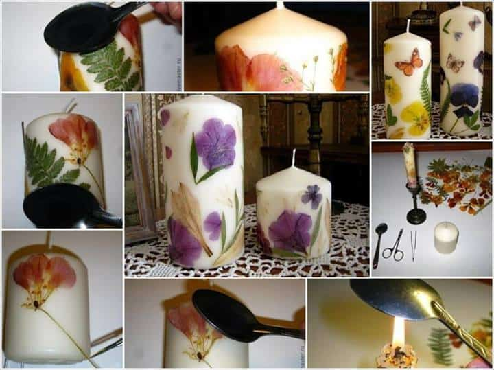 diy dried flower candles