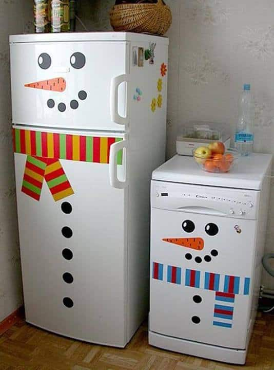 snowman fridge stickers