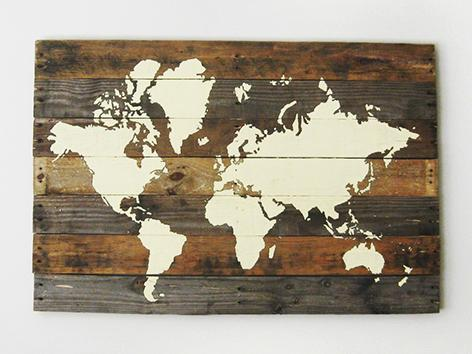 World Map On Pallet Wood